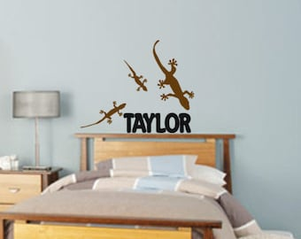 Personalized name decal, gecko lizard sticker, teen bedroom decor, vinyl wall decor, 24 X 29 inches