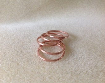 Textured Copper stacking ring set
