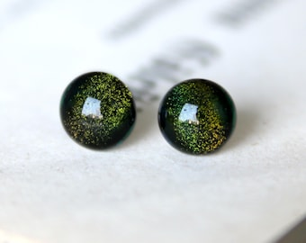 Sleeping Forest Earring Posts - Green Sparkling Dichroic Glass Ear Studs, Hypoallergenic Surgical Steel Ear Posts, Handmade Jewellery