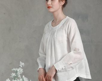 white linen tunic, white linen blouse, longsleeve linen shirt, pintucked neckline top, white linen top, women linen clothes