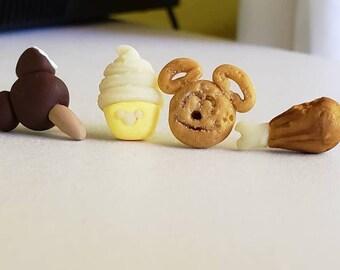 Mouse snacks earrings. Turkey leg studs. Pretzel studs.Whip studs. Mouse snacks.Mouse ice cream bar.Kawaii earrings