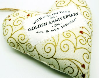 Golden Wedding 50th Anniversary Gift - Personalised Fabric Heart Made in Your Choice of Fabric. Supplied Gift Boxed.