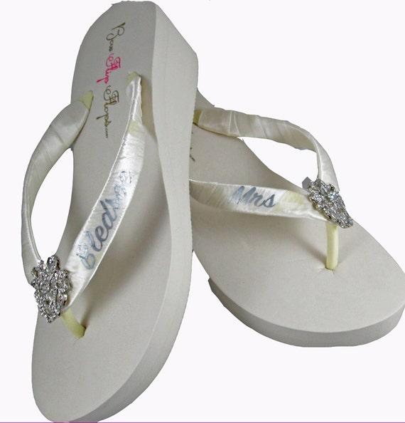 Flops Mrs Wedding Black Heart Sandals Bridal Platform Ivory rhinestone Straps Flip Personalized Wedge embellishment Flops White Flip 5nqHp1