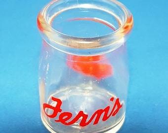 "Vintage Red Pryo-Glazed Glass Dairy Creamer Bottle ""Fern's Dairy"" 1950's"