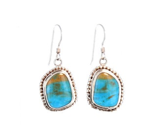 PERUVIAN BLUE OPAL Earrings Sterling  #3 New World Gems
