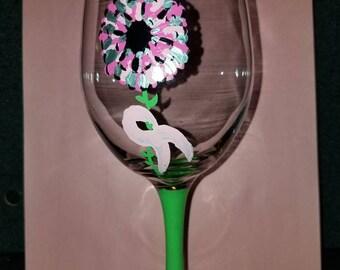 Breast cancer awareness flower wine glass