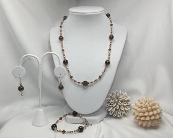 Smoky Quartz,Pearl, Swarovski Crystal and Sterling Necklace Set