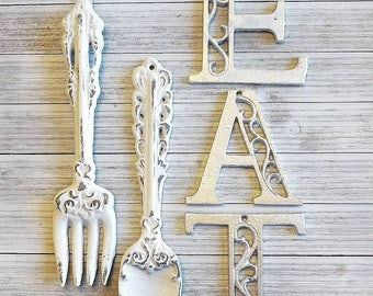 Perfect Kitchen Wall Decor, Kitchen Wall Art, EAT Wall Letters, Fork,Spoon, Images