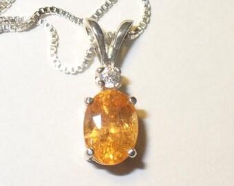 Brilliant Orange Mandarin Spessartine Garnet Pendant in Solid Sterling Silver, Zircon Accent