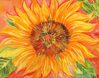 Original Sunflower Watercolor Painting,  sunflower orange wall art,  sunflower artwork,  9 x 12, watercolor flower