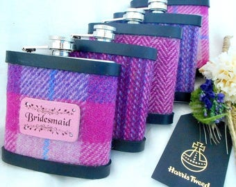 Bridesmaid gifts Set of 3, 4, 5 or 6 Harris Tweed hip flasks with leather label luxury gift or wedding favour for bridal party personalised