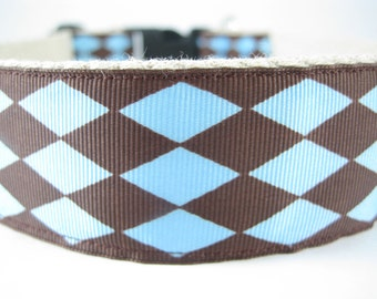 Blue and Brown Diamonds extra large hemp dog collar