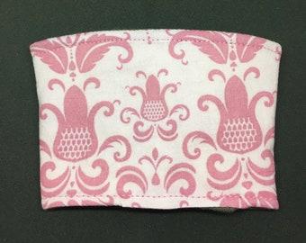 Reusable Fabric Coffee Sleeve / Reusable Coffee Cozy / Cup Sleeve / Eco Friendly Coffee Sleeve / Pink Print