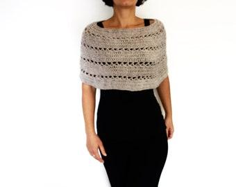 Crochet Pattern - Oatmeal Capelet/ Chunky Knit Shoulders Warmer/ Handmade Shoulders Coverup