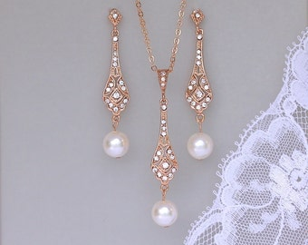 Rose Gold Jewelry Set, Rose Gold Bridal Set, Earrings and Necklace Set, Pearl Drop Earring Set, VIOLET RGP
