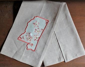 Linen Tea Towel, Kitchen Tea Towel, Mississippi Tea Towel
