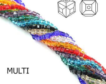 100pcs/Strand 3mm Frosted Cube Glass Bead Strands Loose Beads Bracelet/Necklace Making Free Shipping