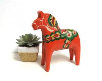 Vintage Swedish Dala Horse Figurine/ Vintage Scandinavian Carved Wood Folk Art