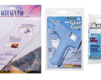 Low Temp Mini Electric Glue Gun Kit - Glue Gun, Sticks and Pad - 10882kit fnt