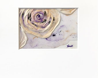 Abstract Rose Plaster Painting in Purple, White and Metallic Gold with Acid-Free White Mat - Original Acrylic Art on Panel with Mat