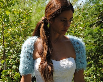 Blue crochet shrug, faux fur wedding bridal shrug, blue faux fur bolero, soft blue crochet sweater, women's handmade shrug