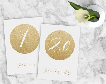 Wedding Table Numbers 1-20, Gold Wedding Table Numbers, Printable Gold Wedding Table Numbers, Wedding Table Signs, INSTANT DOWNLOAD