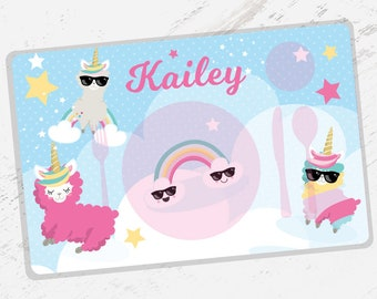 SALE - Kids PLACEMAT Unicorn Llama Children's Personalized Wipe-able Placemat Learn to Set the Table, Laminated, montessori- PM001
