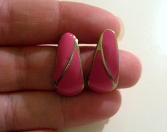 Vintage Earrings Bubble Gum Hot Pink Enamel Earrings