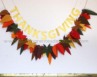 Thanksgiving garland, Thanksgiving decoration, Fall garland, Leaf garland, Autumn garland, Fall decoration, Home decor, Ornament, KH-5300