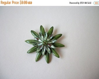 ON SALE Vintage Over Sized Metal Clear Green Rhinestone Floral Pin 842