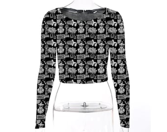 Victorian Gothic Paraphernalia - long sleeved croptop made to order only