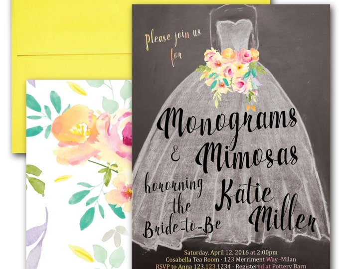 Monograms and Mimosas Invitation // Wedding Dress //Chalkboard Invitation // Bridal Shower // Yellow // Peach // Pink // MILAN COLLECTION
