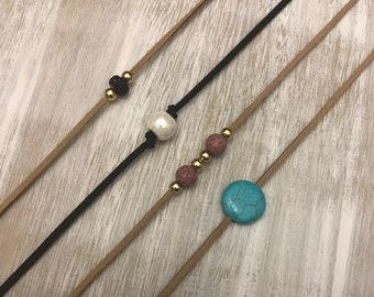 Beaded Choker on Real Leather