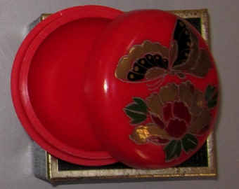 Vintage Pill Box in Red with Flowers n Butterfly by Sarsaparilla ~ Style # 5 Red