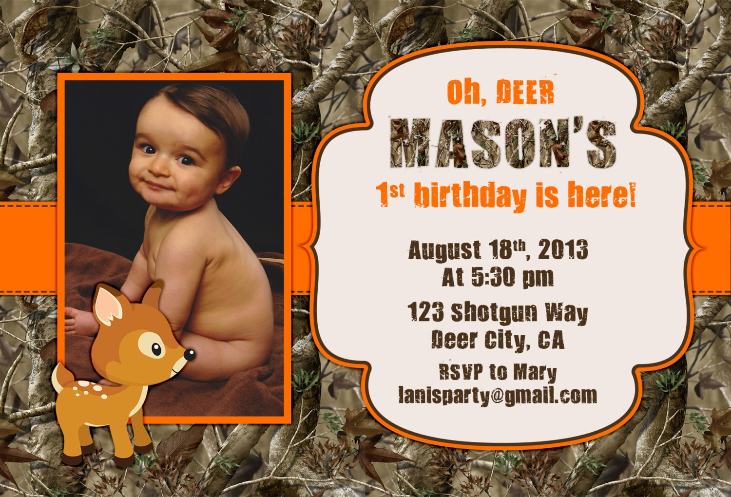 Camo Birthday Invitations Oh Deer Buck Hunting Boy 1st First