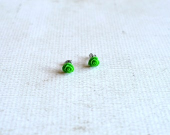 Green Rose Titanium Earring Posts- Small Green Flower Earrings-  Petite Flower Studs- Hypoallergenic Earrings- Great For Sensitive Ears