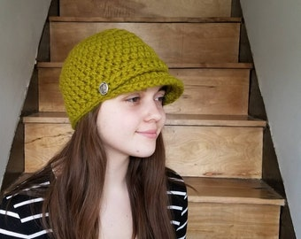 Newsboy Cap / Handmade / Hat with visor / hat with brim / warm winter hat / ready to ship / Wool / Acrylic / Green / Grass Green/ Neon Green