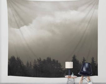 wall tapestry. gothic tapestry, large size wall art, nature decor, lake, forest, dark, mist, black, sepia, gray grey