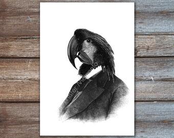 Wand Kunst - Kakadu Kunstdruck - Papagei in Anzug