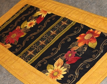 Gold Burgundy Floral Flowers  24 X 12   Table Runner Topper