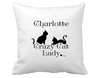 Personalised Crazy Cat Lady - Cushion Cover - Gift - FREE UK SHIPPING