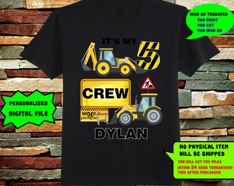 Construction Vehicle Iron On Transfer,Construction Vehicle  Iron On Transfer DIY Shirt, Birthday Shirt, Personalize, 300dpi, Digital File