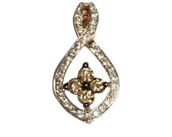 14k white and chocolate diamonds pendant
