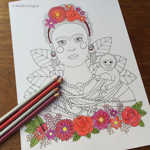 Coloring Pages for Adults Adult Colouring Book Frida Kahlo