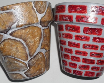 Flower Pots Clay Flower Pots Painted Bricks and Stones Clay Pots Hand Painted Flower Pots Set of 2 Painted Clay Pots