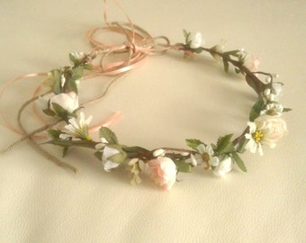 Flower crown Rustic Chic Peach indian summer wedding hair wreath accessories Woodland Bridal little girl halo Barn Country Bride halo