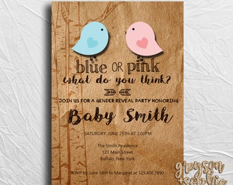 Gender Reveal Invitation, Printable, Blue or Pink What Do You Think, Little Birdies, Rustic, Trees