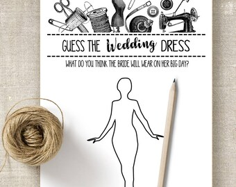 Guess the Wedding Dress game, Bridal Shower game, printable games, party games, G101