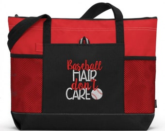 Embroidered Baseball Tote Bag/ Baseball Hair Don't Care Baseball Tote Bag/ Baseball Mom Tote Bag/ Embroidered Baseball Bag/ Baseball Gift