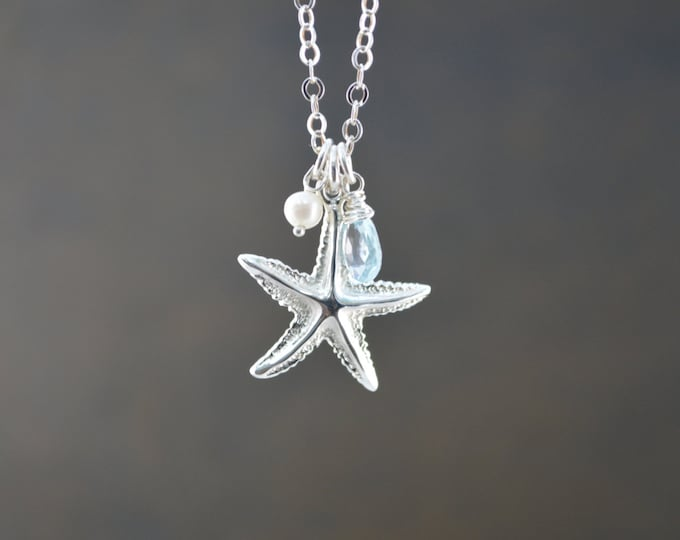 Starfish Necklace, Beach Wedding, Bridesmaid Gift, Starfish Jewelry, Starfish with Blue Topaz and Fresh Water Pearl